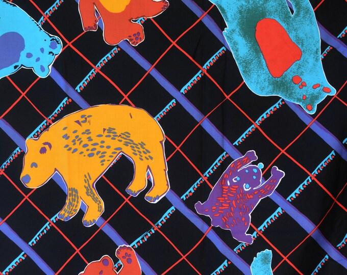 Large plaid print fabric with multi bears