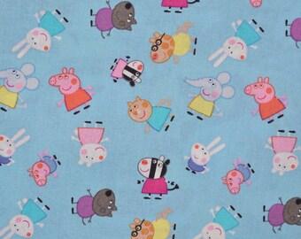 Cartoon fabric, Peppa Pig and friends cotton