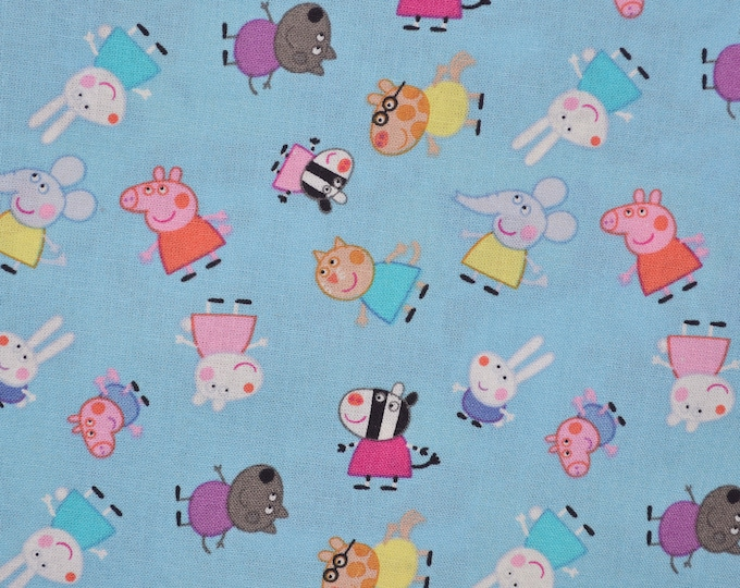 Cartoon fabric, Peppa Pig and friends cotton