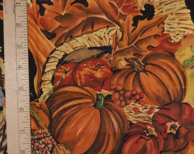 Harvest fabric with pumpkins Alexander Henry rare Thanksgiving turkey
