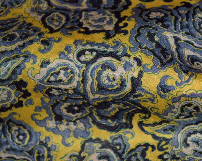 Pure Silk fabric vintage blue silk fabric yelllow silk fabric