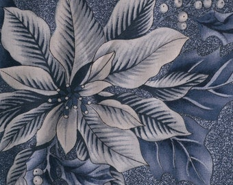 Winter Blue Christmas fabric glittery poinsettia fabric Hoffman fabrics