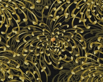 Asian floral, Spider Mums floral fabric, Benartex