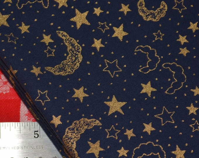 Celestial fabric with moon and stars navy blue