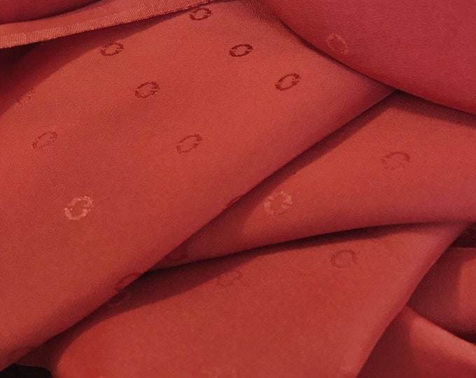 Pure silk fabric, solid color silk jacquard, rust colored or terra cotta, 3 yards x 36 wide