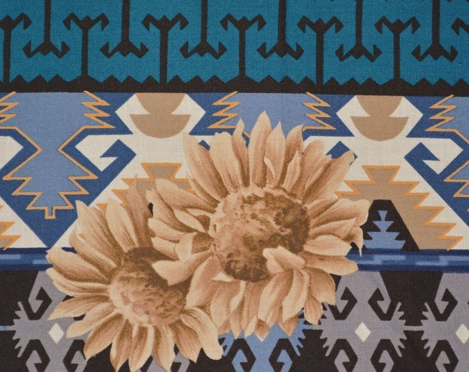 Southwest fabric with Aztec blanket stripe and sunflowers Alexander Henry