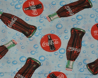 vintage Coca Cola fabric, Coke advertising fabric HALF YARD