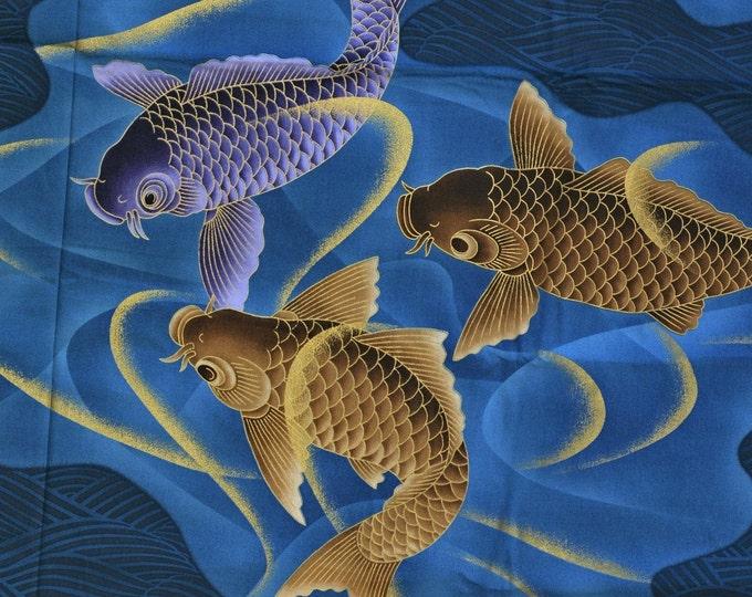 Rare Japanese fabric koi fish large scale blue Asian fabric rare VHTF Kona Bay