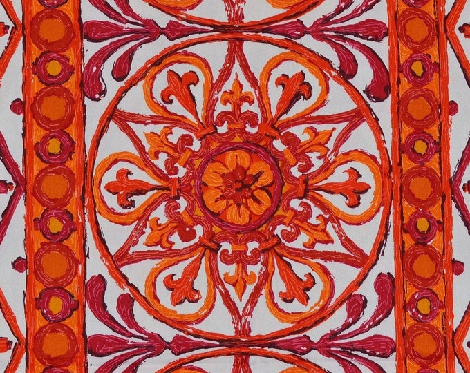 Geo fabric upholstery fabric wrought iron look for orange home decor