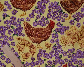 Rhode Island Red Chickens fabric, baby chicks and floral, state birds fabric Northcott