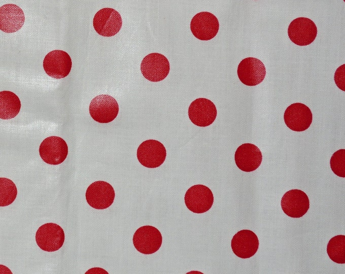 Red polka dots on white fabric chintz polished cotton