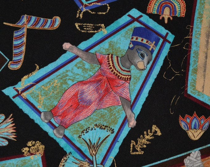 Cat fabric, Hordyszynski for Michael Miller, Egyptian cats HALF YARD