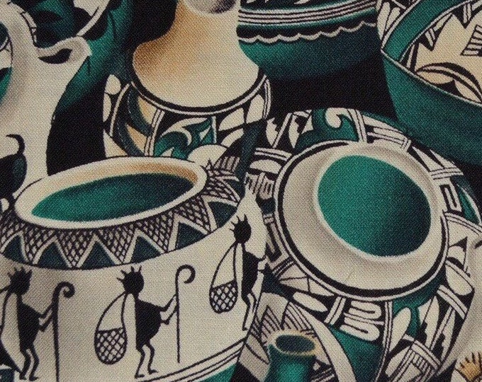 Southwest fabric by the yard Hopi Navajo pottery fabric finds Indian pots Michael Miller