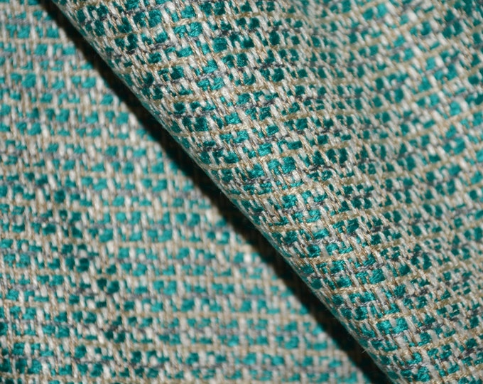 Suiting fabric by the yard, woven rayon fabric, teal geometric pattern apparel width