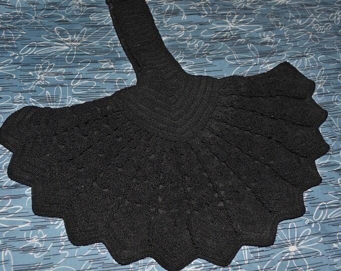 1940s Black Crochet bag crochet wristlet