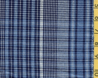 Tonal blue plaid fabric by the yard