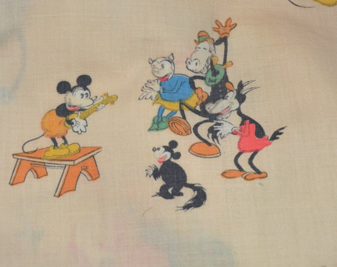Pie Eyes Mickey Mouse fabric sheet remnant, 1930s Disney characters AS IS