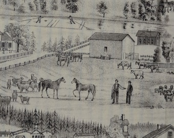 Country toile fabric, gentleman farmer fabric, Michael Miller quilt cotton