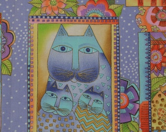 Laurel Burch fabric Fanciful Felines Cat Family Lavender