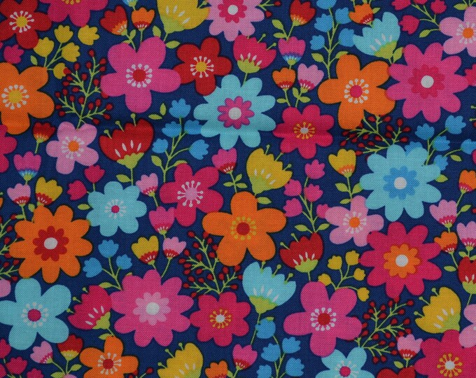 Bright flowers fabric Timeless Treasures spring flowers fabric for girls flower power dress