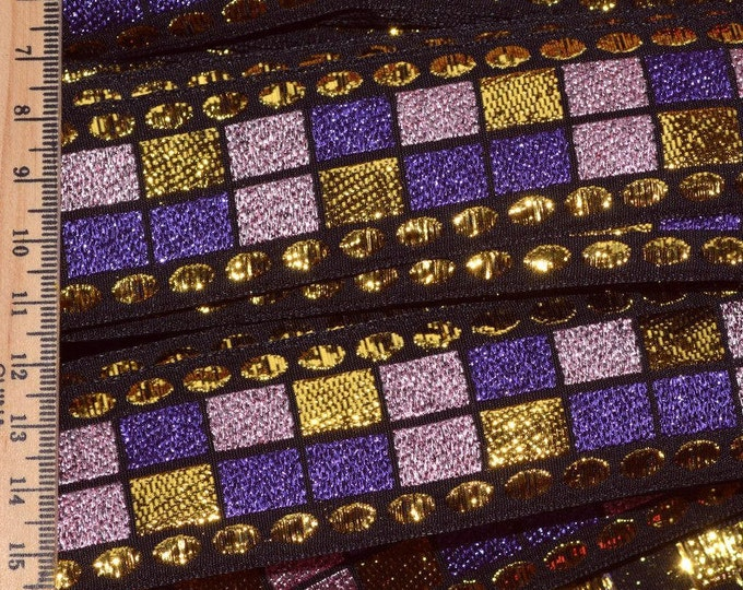 60s vintage trim costume trim geometric gold Purple metallic trim by the yard sparkly
