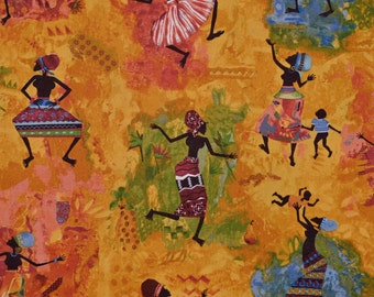 Julia Cairns African fabric, tribal women and children dancing