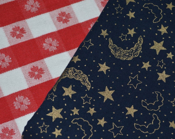 Celestial fabric navy and gold moon and stars fabric vintage novelty