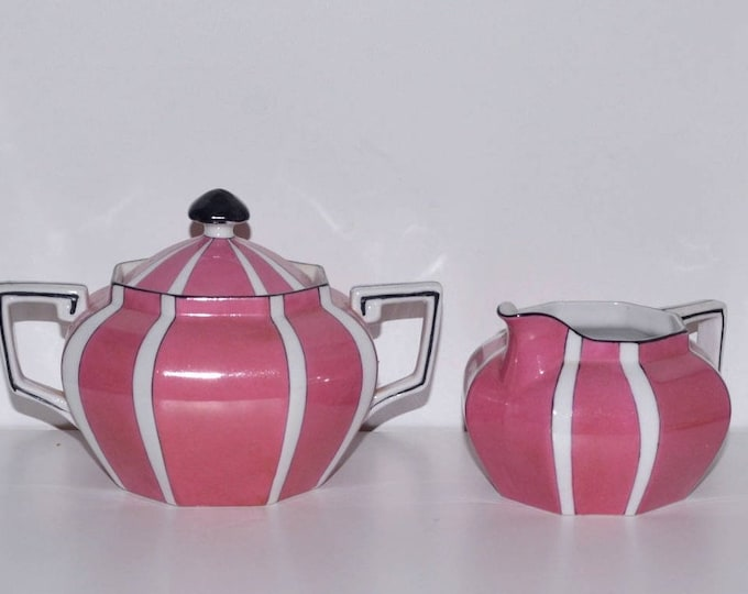 Cream and sugar set Noritake China Art Deco pink and black china