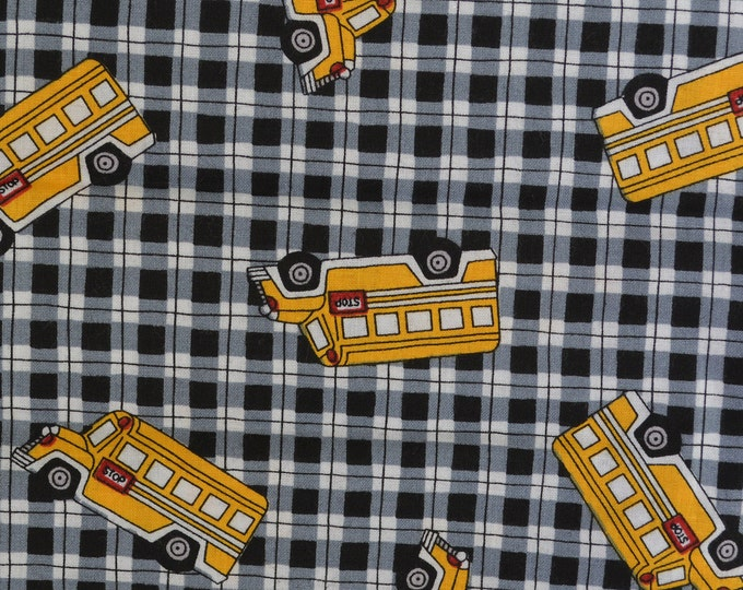 School fabric Checked fabric with Yellow school bus Susan Winget