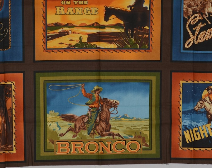 Robert Kaufman fabric Old West western fabric panels cowboy fabric fruit crate labels