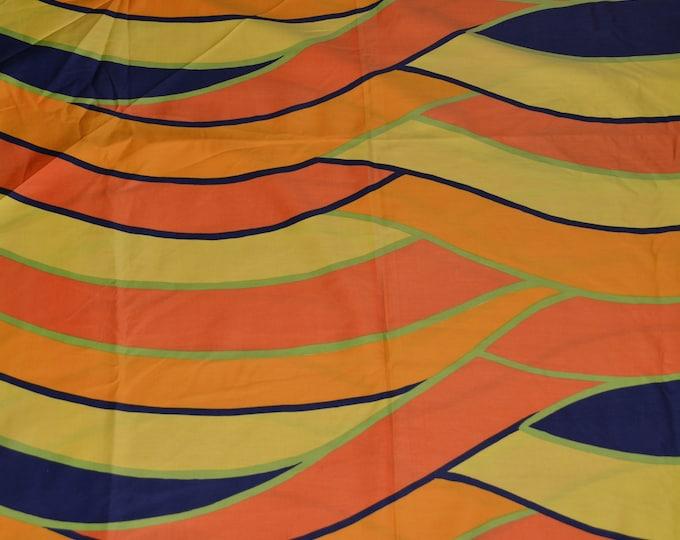 Vintage mod fabric multi color orange stripe fabric 70s fabric wavy stripes Lauratex