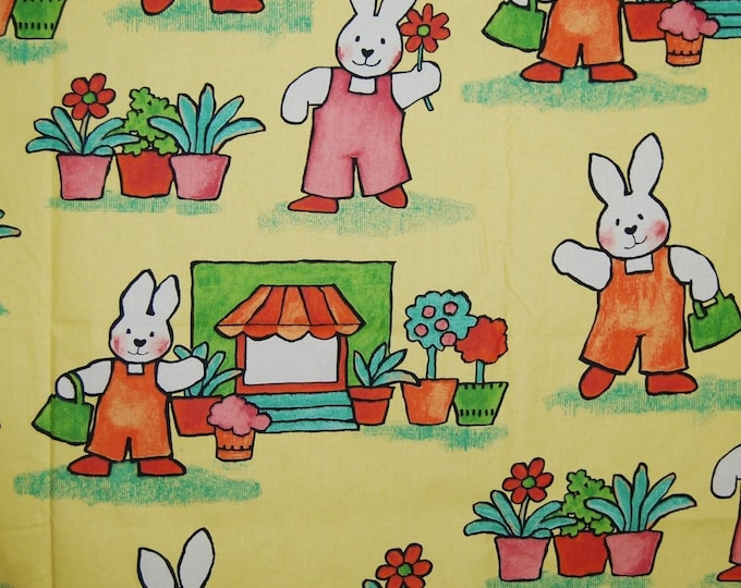 Baby Bunny rabbit upholstery fabric 90s fabric Mansion England