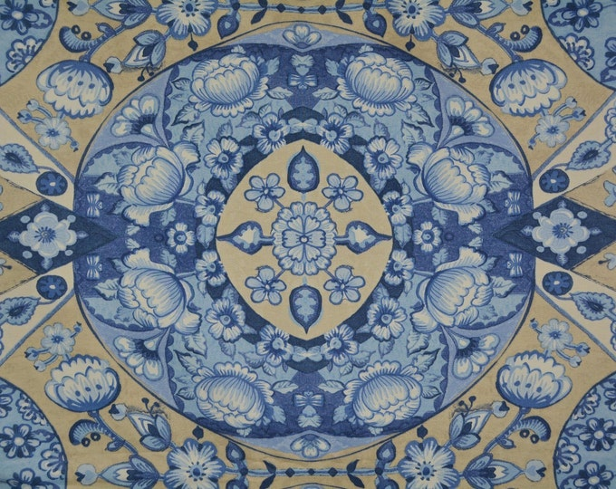Waverly Blue fabric for blue Asian deco Japan decor fabric blue Moroccan decor