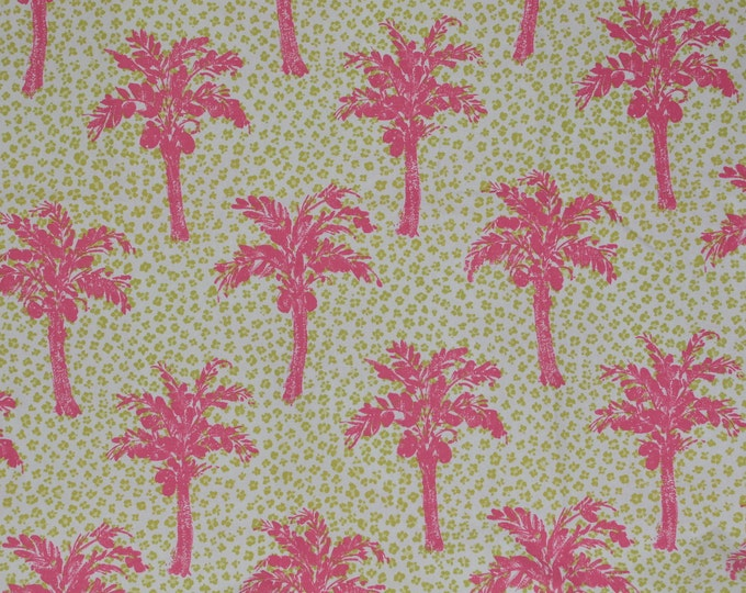 Pink Palm tree fabric with leopard print, upholstery fabric cotton by Brunschwig and Fils