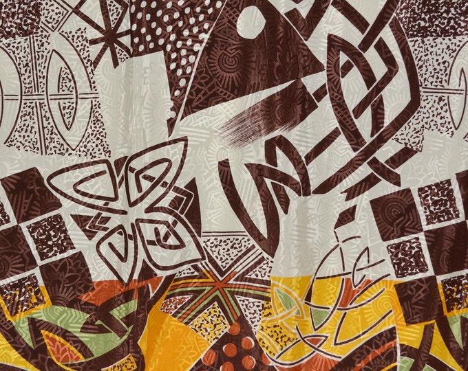 Polyester satin print fabric abstract modern tribal Thompson 4 yards
