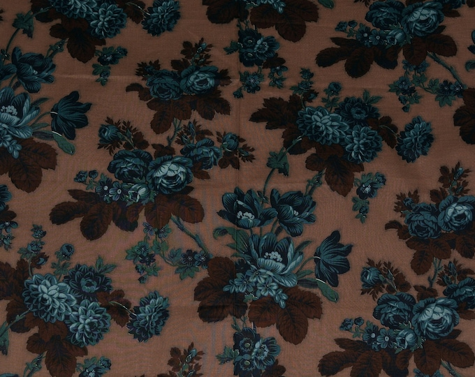 Vintage Jinny Beyer fabric blue flowers on brown fabric