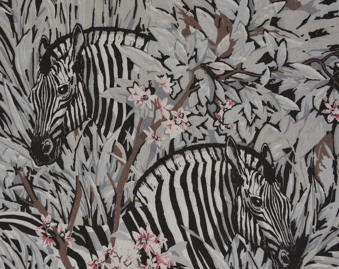 Zebra fabric African zebra print fabric black white novelty fabric 2 yards