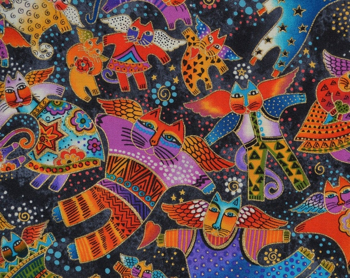 Laurel Burch fabric, tossed cat angels, Fantastic Felines