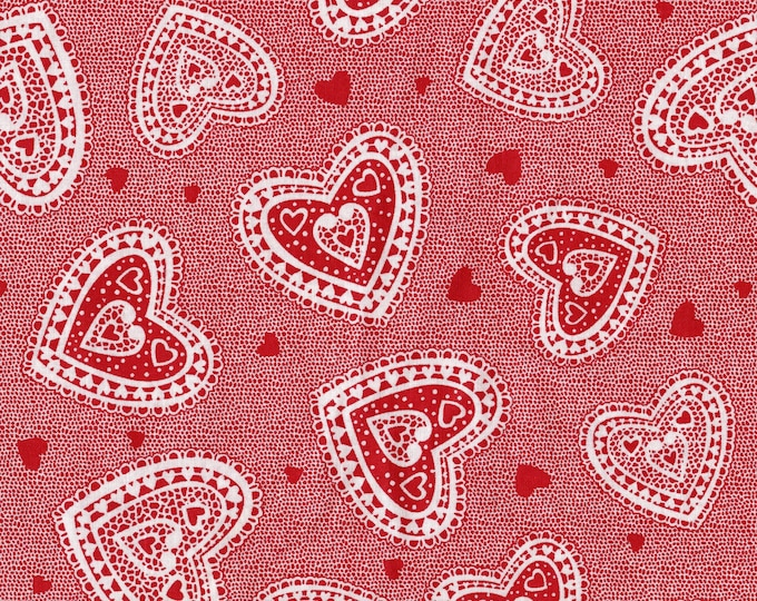 Valentine novelty fabric, doily Hearts fabric