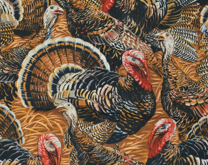 Turkey fabric, Timeless Treasures by the HALF YARD, for Thanksgiving turkey dinner