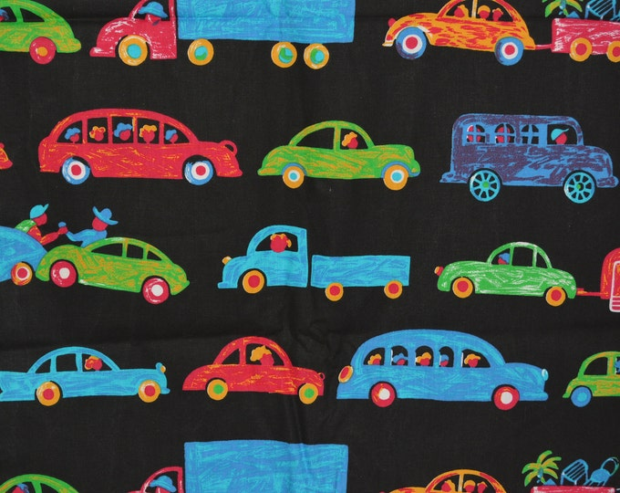 Boys fabric cars and trucks chalkboard look novelty fabric