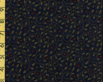 Christmas fabric, holly leaves, navy blue Sandy Gervais fabric, moda fabrics