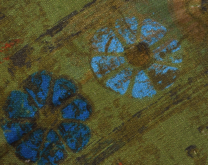 Mid Mod floral linen fabric Mid Century upholstery linen remnant
