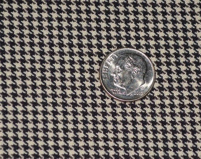 Houndstooth fabric black miniature small scale repeating garment fabric by the yard