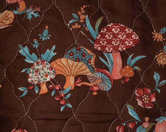 Mushroom fabric double faced pre quilted 70s decor woodland nursery Concord