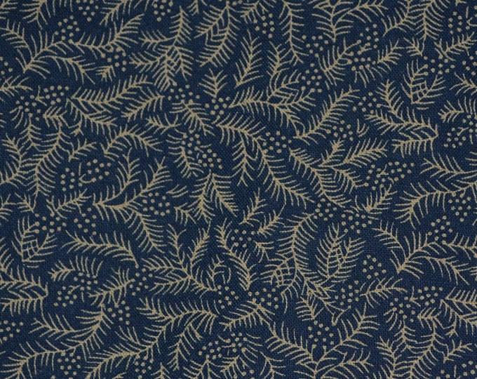 Blue patterned fabric tiny print fabric blue fabric pine needle nature fabric