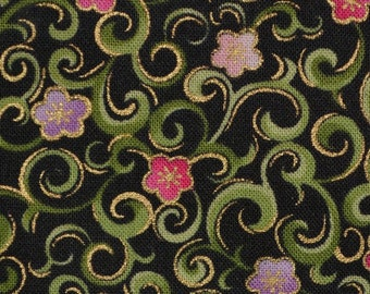 Green Black floral fabric Jacobean floral Fabric Traditions