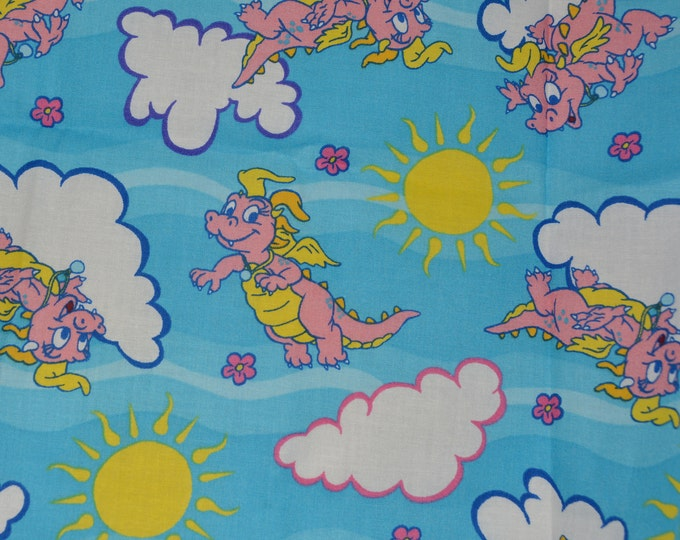 Dragon Tales fabric, Cassie, Sesame Street cartoon fabric for juvenile face mask, baby quilting