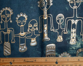 Ethnic African tribal family fabric, tie dyed silver and gold metallic print