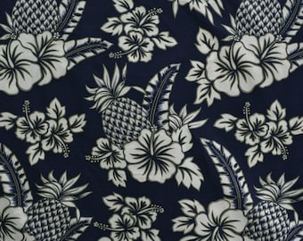 Pineapple fabric Hawaiian hibiscus fabric cotton shirting Hoffman out of print